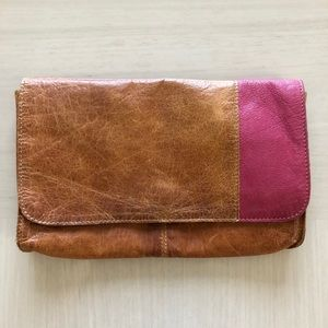 Topshop Brown Pink Leather Clutch Purse Handbag